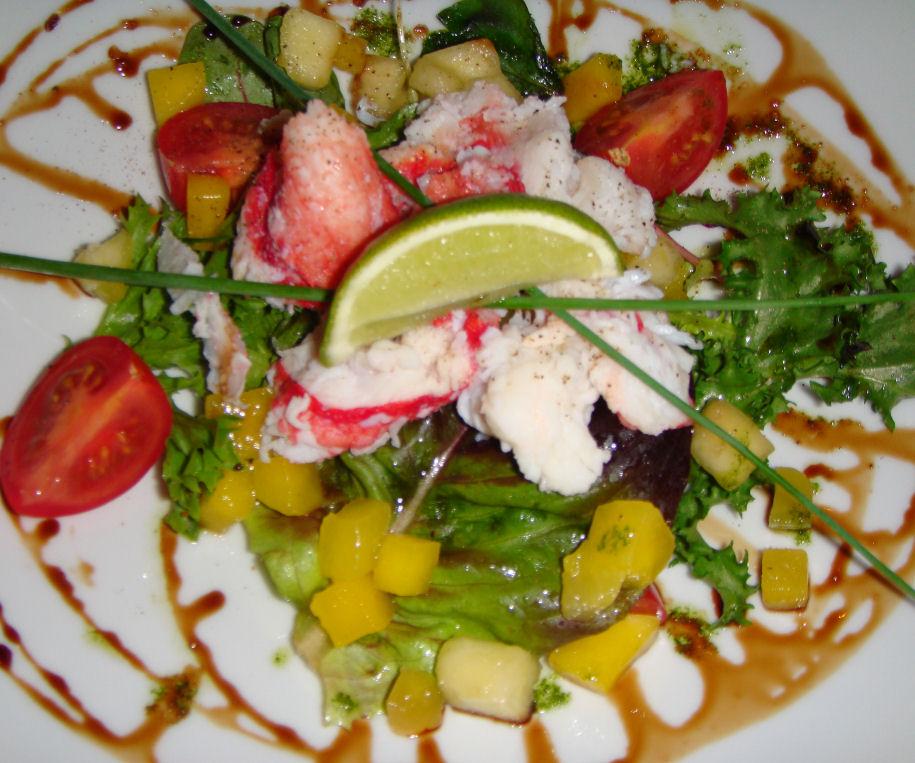 Salat med kongekrabbe