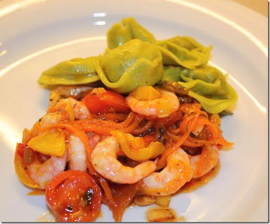 Spicy reker med grønnsaksmix