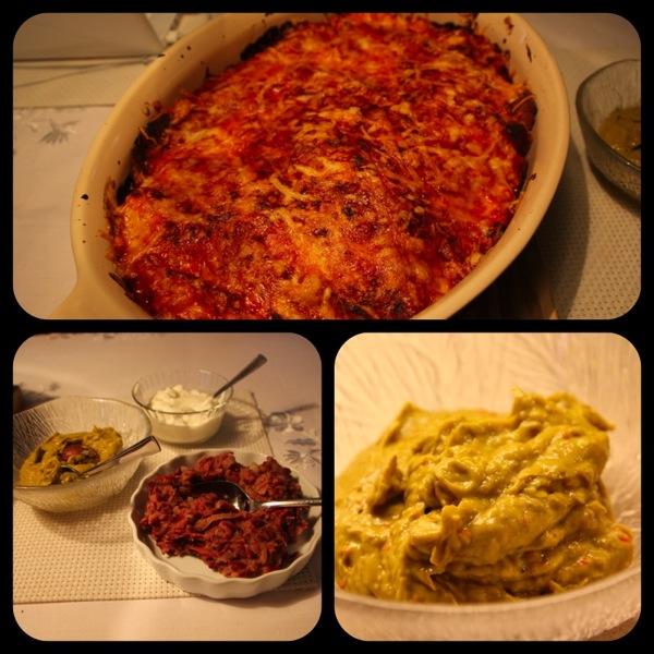 Enchilladas med tomatsalsa, refried beans og guacamole