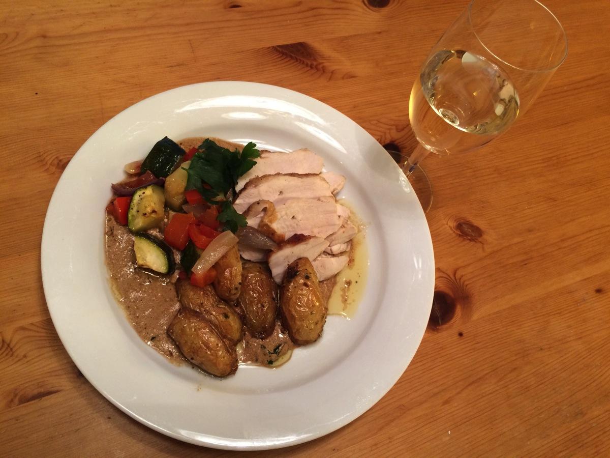 Kyllingbryst med ovnsbakte grønnsaker