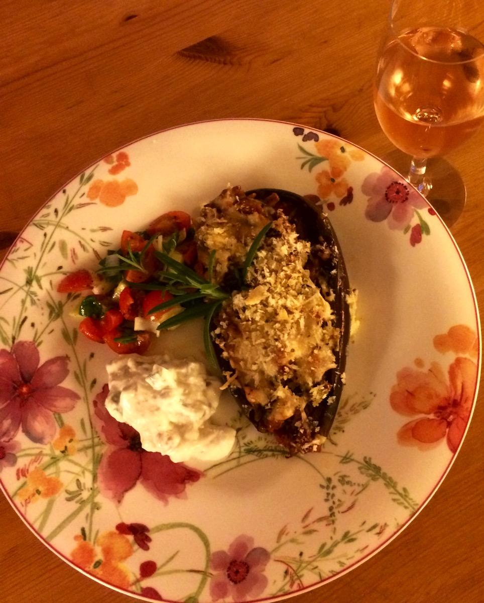Fylte og gratinerte auberginer