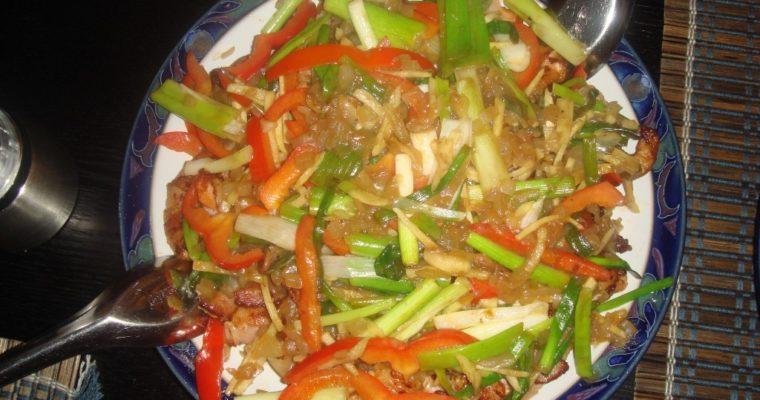 Scampi med bacon og stekte grønnsaker