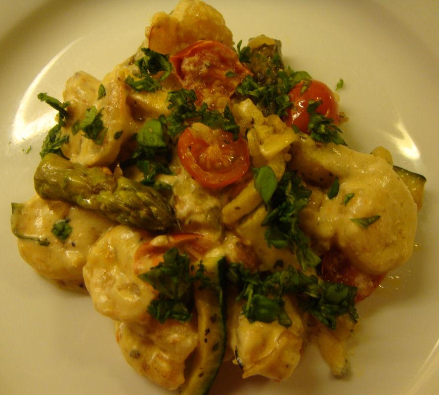 Scampi med grønnsaker og gorgonzola