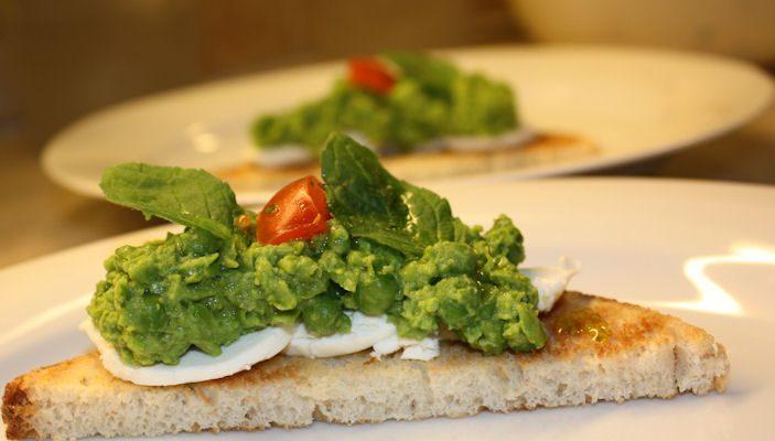 Grønn bruchetta med chévre