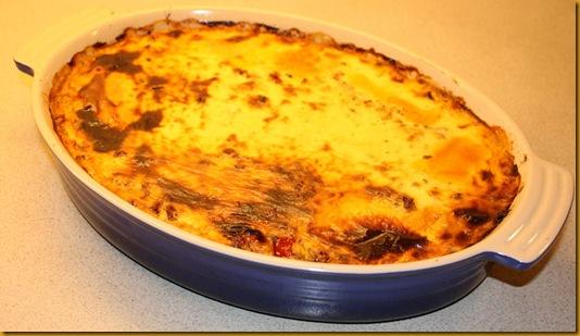 Moussaka med linser, yoghurt og cottage cheese