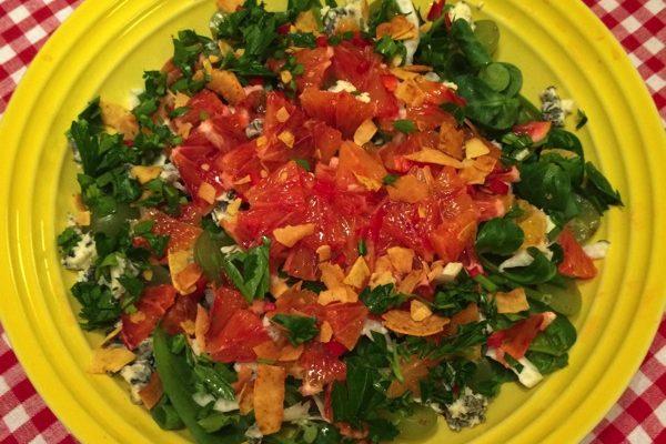 Salat med blodappelsin og blåmuggost