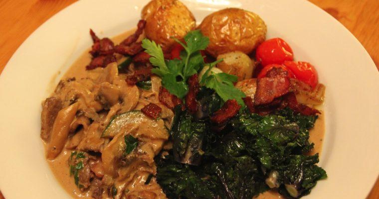 Enkel reinsdyrgryte med ovnsstekte poteter og flowersprout