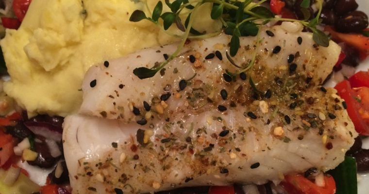 Torskefilét med bønnesalat og potetmos