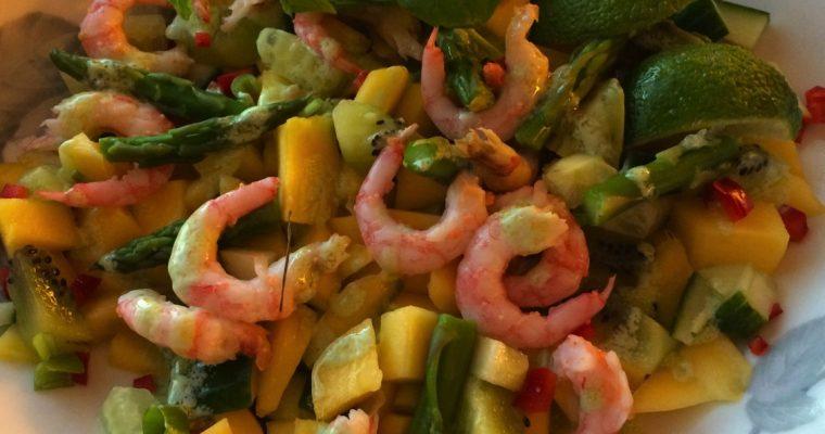 Rekesalat med mango, avocado og wasabi