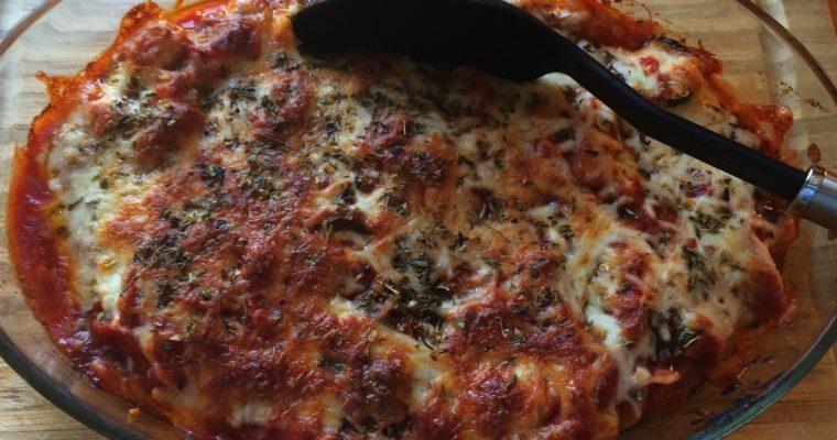 Gratinerte italienske kjøttboller med pasta