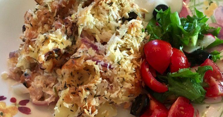 Ovnsbakt varmrøkt laks med greske smaker