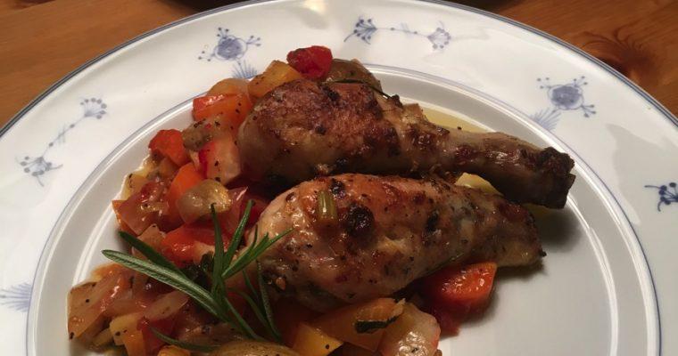 Ovnsbakte grønnsaker med kyllingklubber