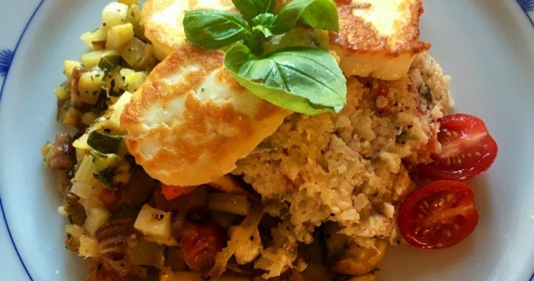 Haloumi med bakte rotgrønnsaker og blomkålris