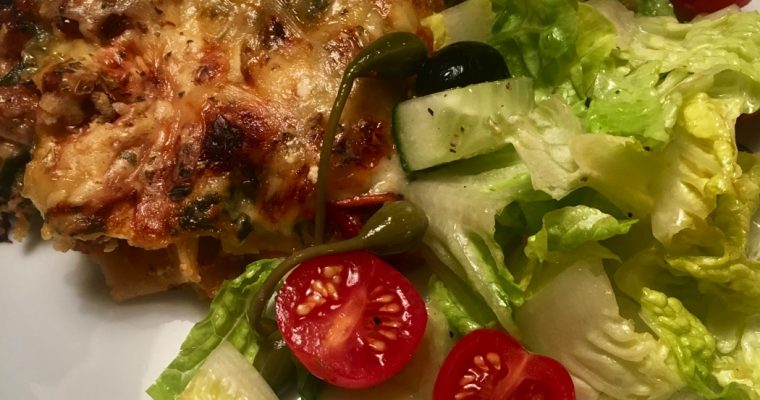 Lasagne med spinat og confiterte tomater