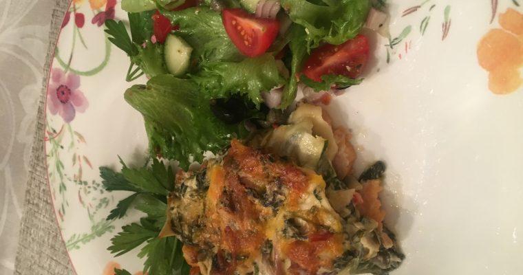 Søtpotetgrateng og spinat med eller uten kjøtt